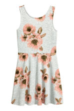 Jersey dress - Grey/Floral -  | H&M CN 2