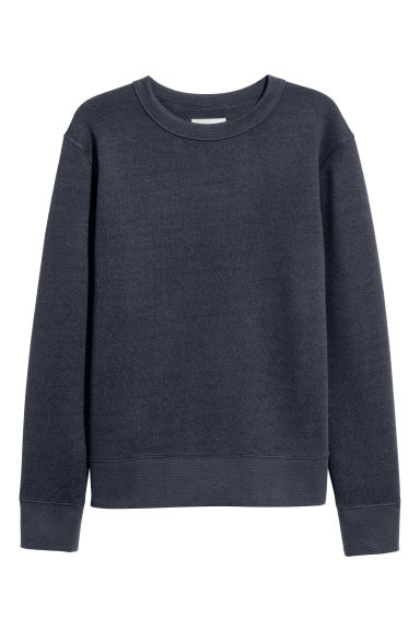 Silk-blend sweatshirt - Dark blue - Men | H&M CN 1