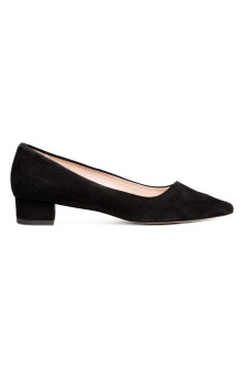 Suede block-heeled court shoes