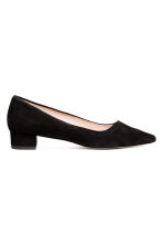 Suede block-heeled court shoes - Black - Ladies | H&M CN 1