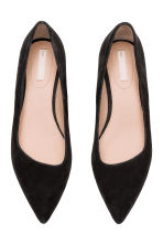 Suede block-heeled court shoes - Black - Ladies | H&M CN 2