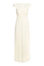 Maxi dress with lace bodice - Natural white - Ladies | H&M CN 2