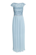 Maxi dress with lace bodice - Light blue - Ladies | H&M CN 2