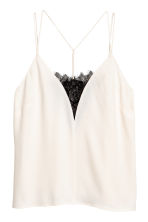 Strappy top with lace - Natural white -  | H&M CN 2