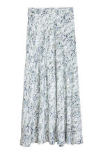 Long silk skirt - White/Patterned -  | H&M IE 2