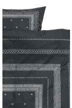 Cotton percale duvet cover set - Anthracite grey/Patterned -  | H&M CN 3