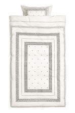 Cotton percale duvet cover set - White/Patterned -  | H&M CN 2