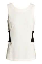 Satin crêpe top - White - Ladies | H&M 2