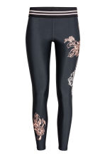 Sports tights - Black/Floral - Ladies | H&M 1