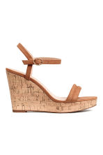 Wedge-heel sandals - Light brown - Ladies | H&M CN 1