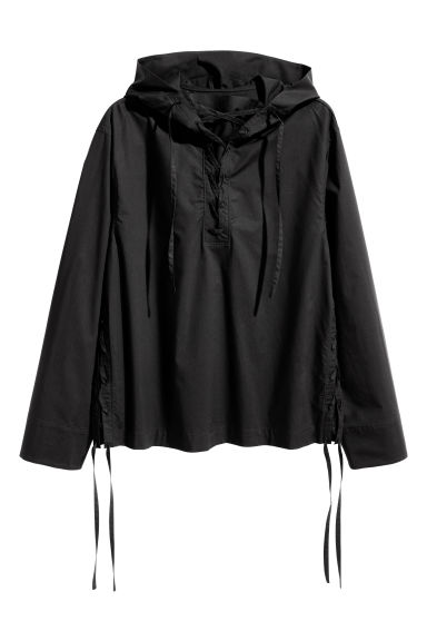 Hooded shirt with lacing - Black - Men | H&M 1