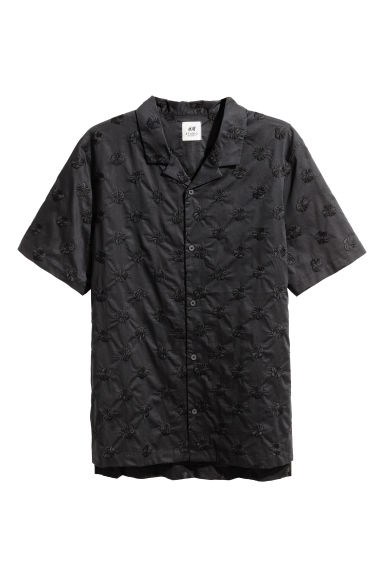 Embroidered resort shirt - Black - Men | H&M CN 1