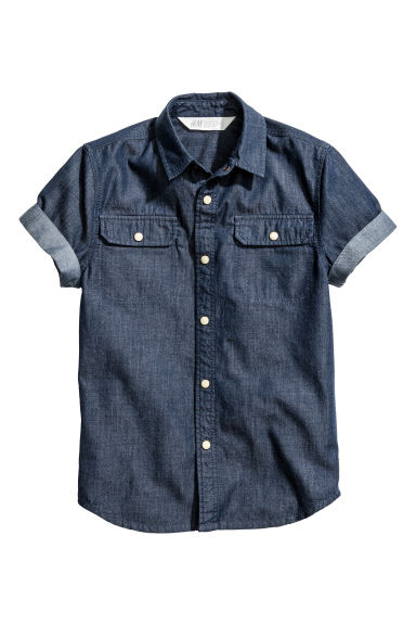 Short-sleeved shirt - Dark blue/Chambray - Kids | H&M CN 1