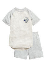 Jersey pyjamas - Light grey/Striped -  | H&M 1