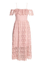 Off-the-shoulder lace dress - Light pink - Ladies | H&M CN 2