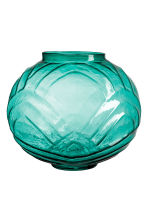 Large textured glass vase - Petrol green - Home All | H&M CN 2