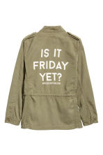Lyocell-blend cargo jacket - Light khaki green - Kids | H&M CN 3