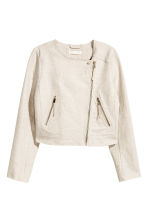 Linen-blend biker jacket - Natural white - Ladies | H&M CN 2