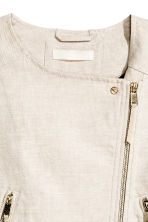 Linen-blend biker jacket - Natural white - Ladies | H&M CN 3