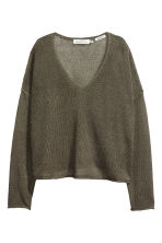 Linen-blend jumper - Khaki green - Ladies | H&M CN 2