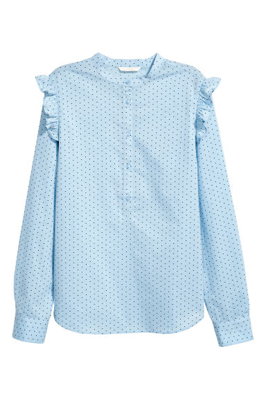 Cotton blouse - 浅蓝色/波点 - Ladies | H&M CN 1