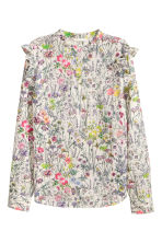 Cotton blouse - Natural white/Floral - Ladies | H&M 2