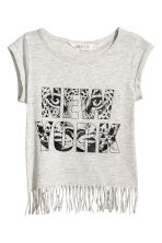 Fringed top - Light beige/New York -  | H&M CN 2
