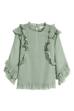 Double-layered chiffon blouse - Dusky green - Ladies | H&M CN 2