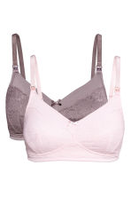 MAMA 2-pack lace nursing bras - Pink/Mole - Ladies | H&M 2