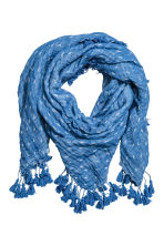 Cotton scarf with tassels - Blue/Patterned - Ladies | H&M 1