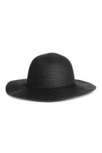 Floppy straw hat - Black -  | H&M 1