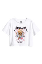 Short T-shirt - White/Metallica - Ladies | H&M GB 2