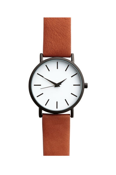 Watch with a leather strap - Cognac brown - Men | H&M CA 1
