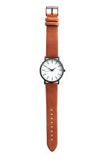 Watch with a leather strap - Cognac brown - Men | H&M CA 2