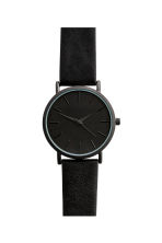Watch with a leather strap - Black - Men | H&M GB 1