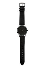 Watch with a leather strap - Black - Men | H&M GB 2