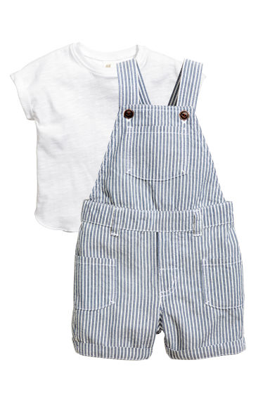 T-shirt and dungarees - Blue - Kids | H&M CN 1