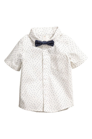 Cotton shirt with a bow tie - White/Spotted -  | H&M 1