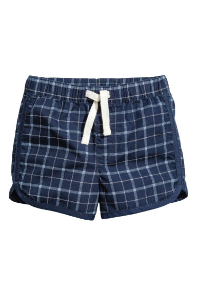Cotton shorts - Dark blue/Checked - Kids | H&M 1