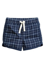 棉質短褲 - Dark blue/Checked - Kids | H&M 1