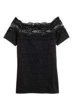 Top with a lace yoke - Black - Ladies | H&M 2