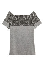 Top with a lace yoke - Grey marl - Ladies | H&M 2