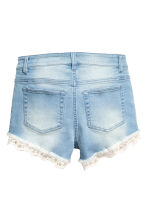 Denim shorts with lace trims - Light denim blue - Ladies | H&M CN 3