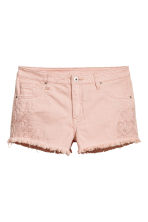 Embroidered denim shorts - Powder pink - Ladies | H&M 2