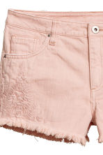 Embroidered denim shorts - Powder pink - Ladies | H&M 4