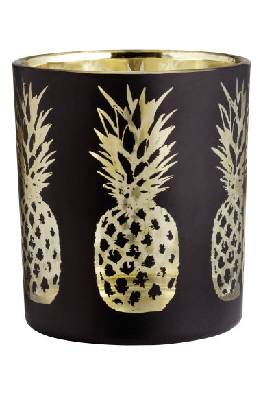 Glass tealight holder - Black/Pineapple - Home All | H&M CN 1
