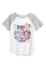 Printed top - White/Tiger -  | H&M CA 2