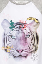 Printed top - White/Tiger -  | H&M CA 3