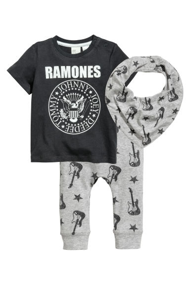 平紋3件組套裝 - Dark grey/Ramones -  | H&M 1