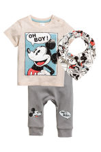 3-piece jersey set - Light beige/Mickey Mouse -  | H&M CN 1